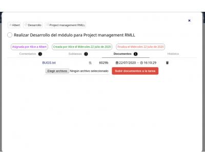 Módulo 2DoTaskList - Ventana emergente (documentos)